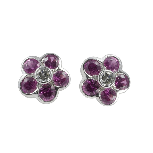 18ct White Gold Pink Sapphire & Diamond Stud Earrings