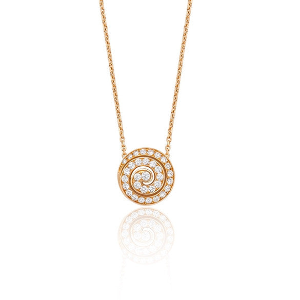 18ct Rose Gold Diamond Swirl Pendant, 0.33ct