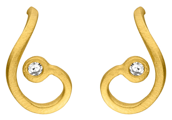 14ct Yellow Gold & Diamond Curl Stud Earrings, 0.04ct