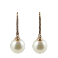 18ct Rose Gold Cultured Pearl & Diamond Drop Earrings, 0.11ct