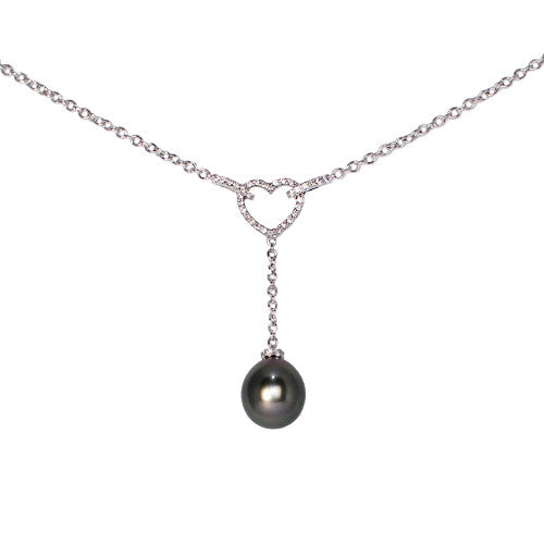 18ct White Gold Diamond Heart & Tahitian Pearl Drop Pendant, 0.27ct