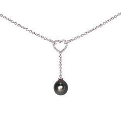 18ct White Gold Diamond Heart & Tahitian Pearl Drop Pendant, 0.37ct