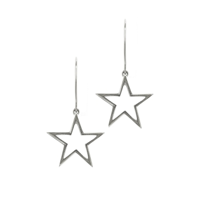 9ct White Gold Star Drop Earrings