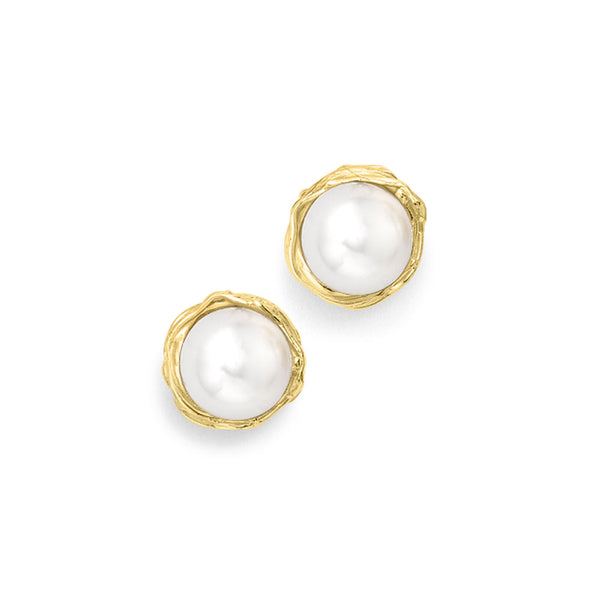 9ct Yellow Gold Elegant Willow Pearl Stud Earrings