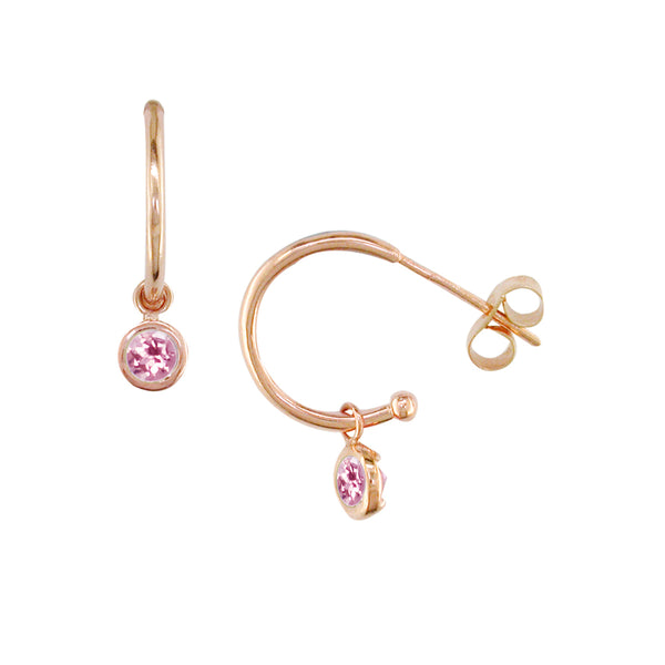 9ct Rose Gold Pink Tourmaline Dew Drop Hoop Earrings