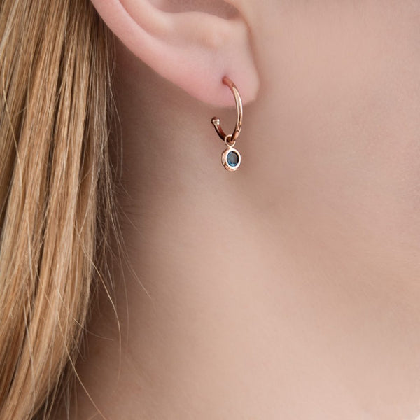 9ct Rose Gold Blue Topaz Dew Drop Hoop Earrings