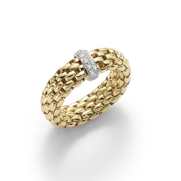 18ct Yellow Gold & Diamond Flex'it Vendome Ring, 0.10ct