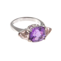 18ct White Gold Amethyst & Morganite Ring