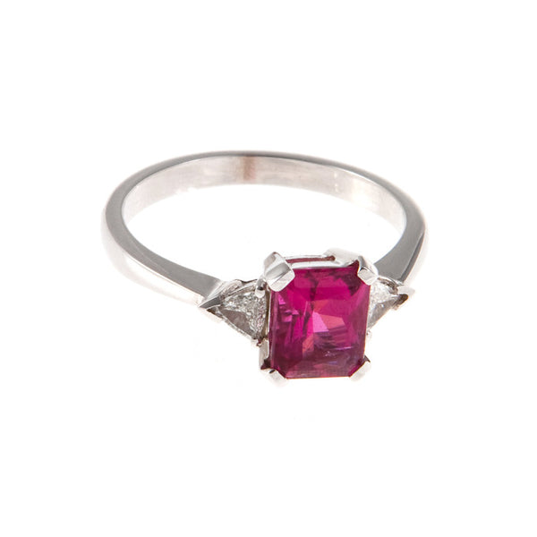 18ct White Gold Rubellite & Diamond Ring, 0.14ct