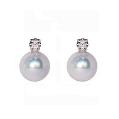 Diamond & Akoya Pearl Stud Earrings, 0.30ct