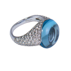 18ct White Gold & Diamond Set Blue Topaz Ring, 2.28ct