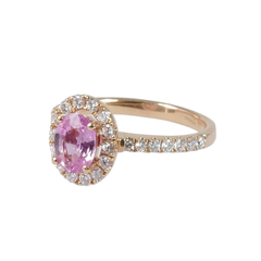 18ct Rose Gold Pink Sapphire & Diamond Cluster Ring, 0.44ct