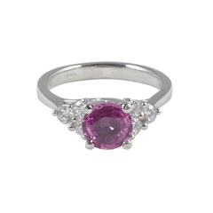 18ct White Gold Pink Sapphire & Diamond Ring, 0.40ct