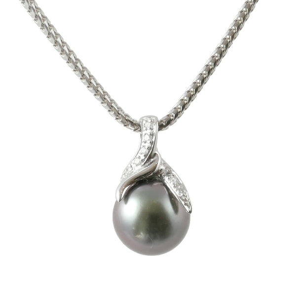 18ct White Gold Diamond Set Tahitian Pearl Pendant