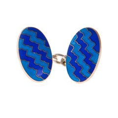 Sterling Silver Wave Enamelled Chain Link Cufflinks