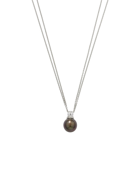 9ct White Gold Grey Pearl Ball Pendant