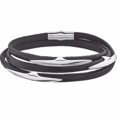 Silver Arc Multi Leather Wrap Bracelet