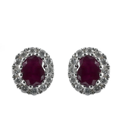 18ct White Gold Ruby & Diamond Stud Earrings, 0.12ct