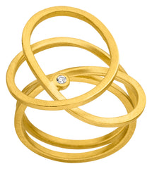 14ct Yellow Gold & Diamond Swirl Ring, 0.02ct