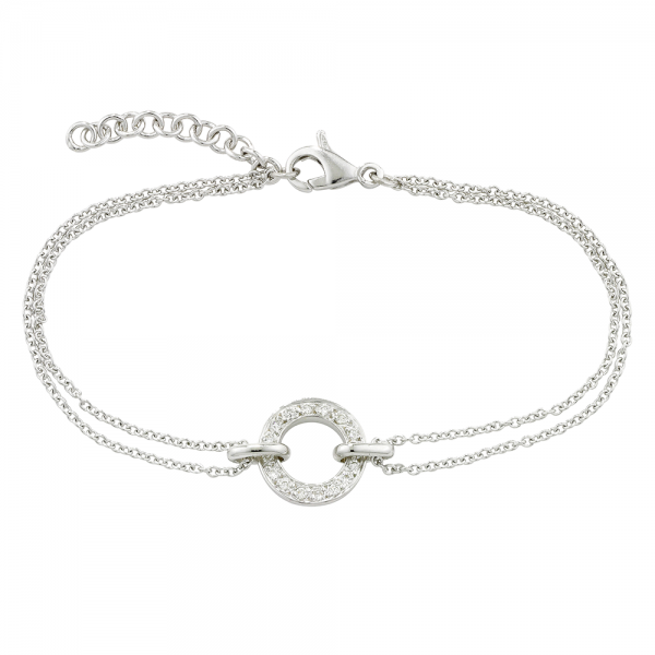 9ct White Gold Diamond Set Meridian Bracelet, 0.13ct