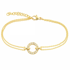 9ct Yellow Gold Diamond Set Meridian Bracelet, 0.13ct