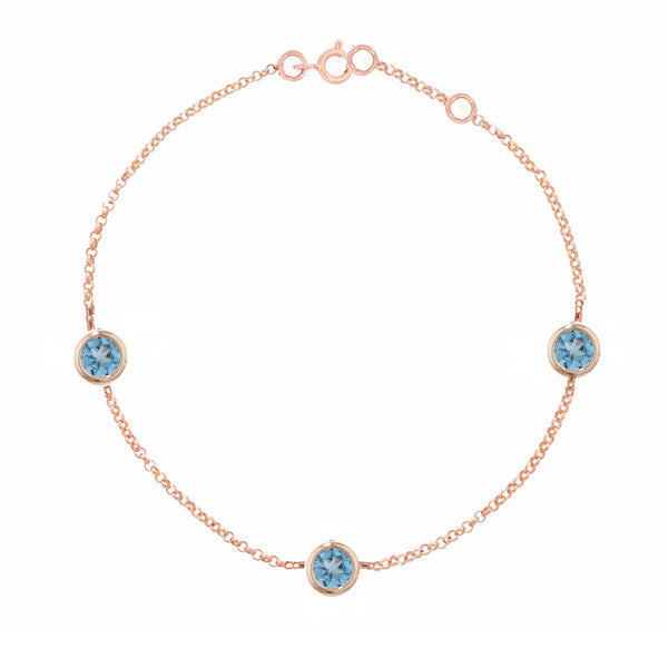 9ct Rose Gold Blue Topaz Dew Drop Bracelet