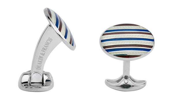 Red & Blue Enamel Silver Cufflinks