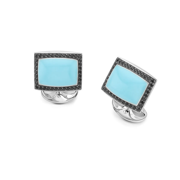 Black spinel with Blue Enamel Centre Cufflinks