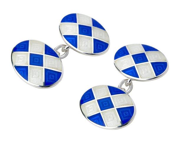 Blue & White Enamel Silver Cufflinks