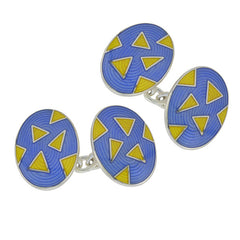 Blue & Yellow Enamel Silver Cufflinks