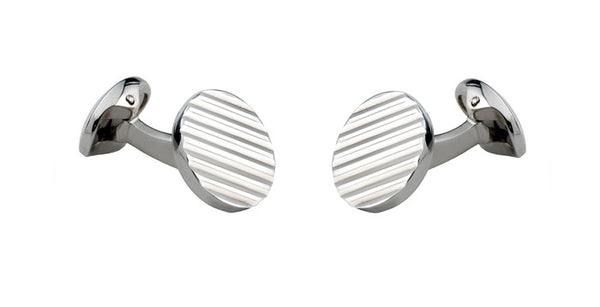 Round Silver Cufflinks with Engine-Turned Pattern