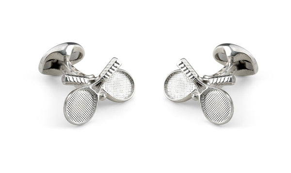 Crossed Tennis Racket Silver Cufflinks