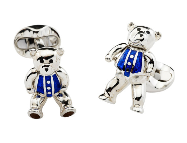 Sterling Silver Moveable Blue Teddy Bear Cufflinks