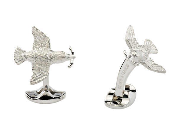 Silver Bird & Worm Cufflinks