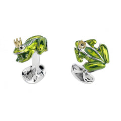 Sterling Silver Frog with Crown Cufflinks
