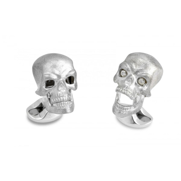 Sterling Silver Skull Cufflinks with Diamond Eyes