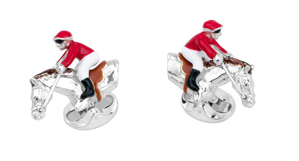 Red & White Jockey & Horse Cufflinks