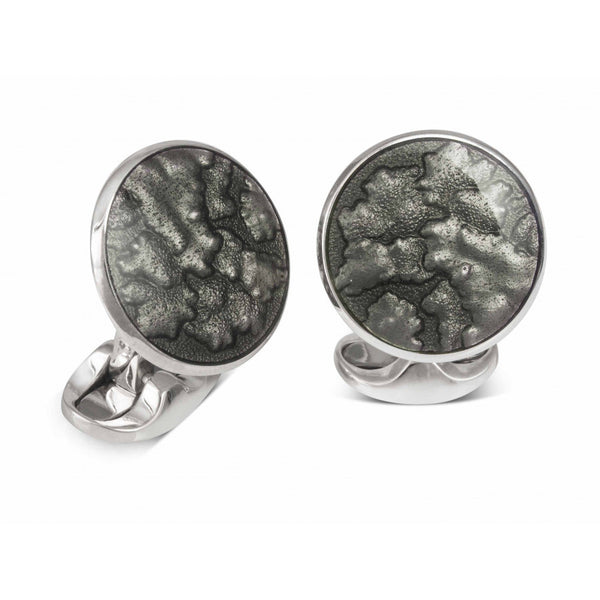 Sterling Silver Summer Haze Enamel Cufflinks in Dark Grey