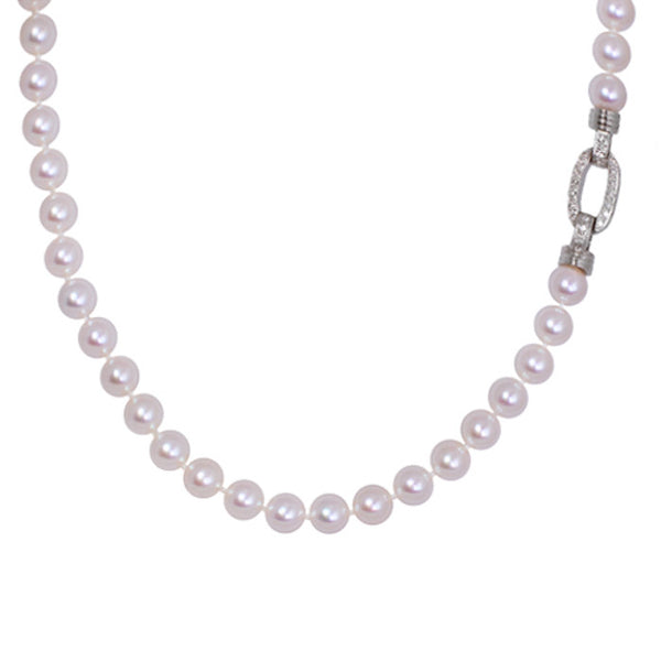 Akoya Pearl Necklace With 18ct White Gold Diamond Clasp, 0.30ct