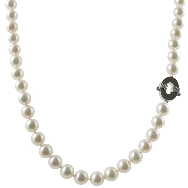 18ct White Gold Akoya Pearl Necklace, 0.16ct