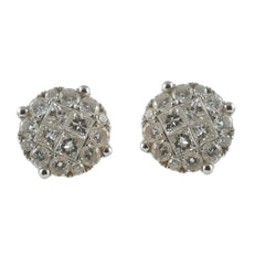 18ct White Gold Diamond Cluster Stud Earrings, 1.13cts