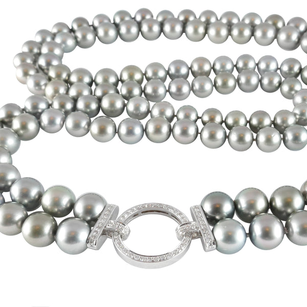 Tahitian Pearl Necklace With Diamond Clasp, 0.58ct