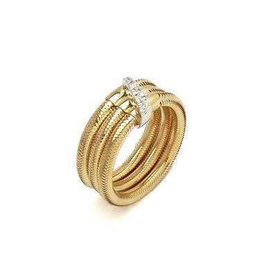 18ct Yellow Gold & Diamond 3-Row Ring, 0.08ct