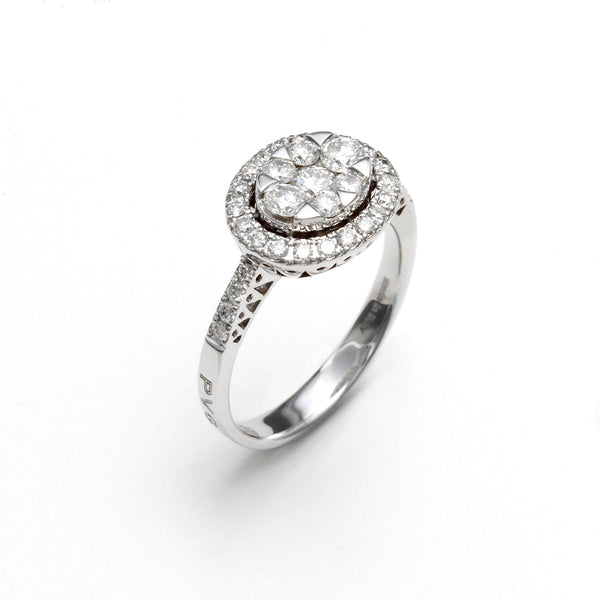 18ct White Gold Diamond Oval Cluster Ring, 0.87ct