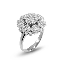 18ct White Gold Diamond Cluster Ring, 1.61ct