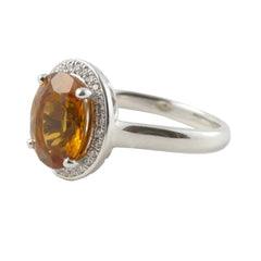 18ct White Gold Citrine & Diamond Ring