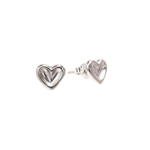 Sterling Silver Cherished Hearts Stud Earrings