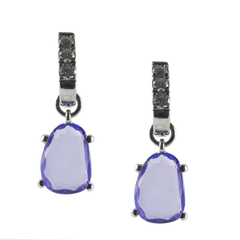 18ct White Gold Tanzanite & Diamond Drop Earrings, 0.26ct