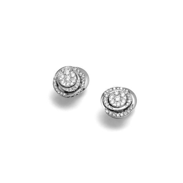 18ct White Gold Diamond Stud Earrings, 0.64ct