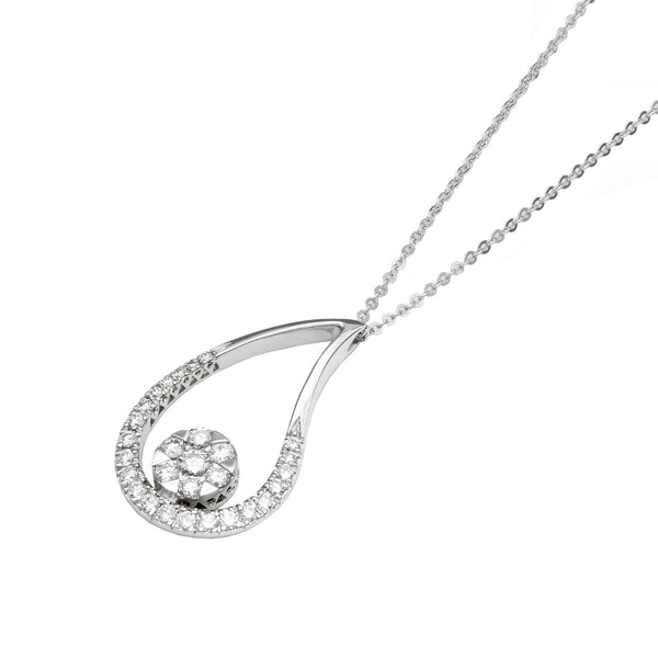 18ct White Gold Diamond Teardrop Pendant, 0.44ct